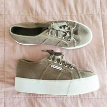 Superga Platform Canvas Lace Up Sneaker Green 37 Us 6.5 Women's Photo