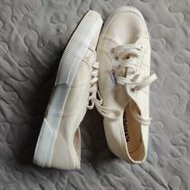 Superga Shoes Women's 9.5 Men's 8 Off White Canvas Lace Up Sneaker Unisex Photo