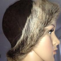 Surell Accesssories Real Fox Fur Bucket Hat Shearling Brown Photo