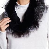 Surell Women's Black Genuine Rex Rabbit and Faux Fur Infinity Loop Scarf Photo