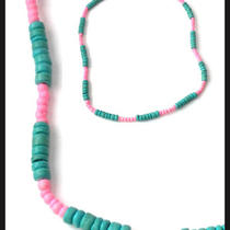 Surfer Girl Necklace Aqua and Pink Coco Beads 16 Inch Photo