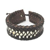 Surfer Real Shark Tooth Fossil Mens Womens Dark Brown Leather Wristband Bracelet Photo