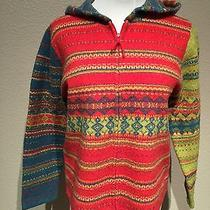 Susan Bristol Women's Lambs Wool Hooded Zip Up Sweater Size Large Bright Colors Photo