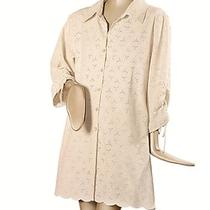 Susan Graver 100% Cotton Eyelet Long Tunic Shirt With Mother of Pearl Size 1x Photo