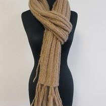 Susana Monaco Nwt Brown Wool Blend Thick Cable Knit Scarf W Fringed End O/s Q363 Photo