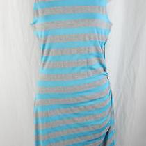 Susana Monaco Women's Gray Turquoise Striped Ruched Side Sleeveless Dress Size M Photo