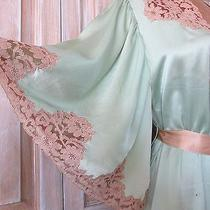 Svelte Vintage C1930's Frosty Mint Green Silk Satin & Blush Lace Boudoir Robe Photo
