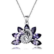 Swan Pendant 18k White Gold Plated Swarovski Crystal Necklace N1148 Photo