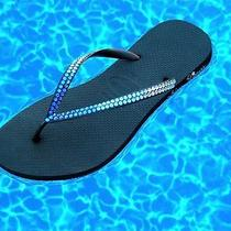 Swarovski Blue Sunrise Sunset Ombre Crystal Flip Flops Havaianas or Cariris Shoe Photo