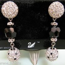 Swarovski Brand Pave Dangle Earrings Crystal Onyx Rhinestone Black 14kt Pos Photo