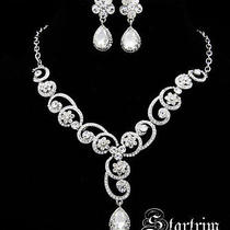 Swarovski Bridal Crystal Necklace Aerring Set Photo