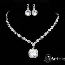 Swarovski Bridal Crystal Necklace Aerring Set Photo