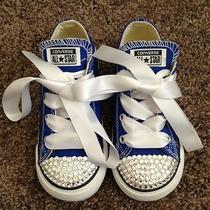Swarovski Converse Chuck Taylor Blue -Low Top- Kids Size 10 Photo