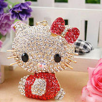 Swarovski Crystal 3d Red Hello Kitty Charm Handbag Car Purse Key Chain Key Ring Photo
