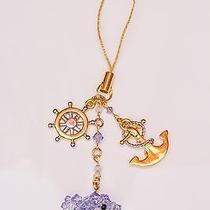 Swarovski Crystal Beads Dolphin With Gold Ship's Wheel and Anchor Handmade Charm Photo