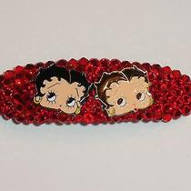 Swarovski Crystal & Betty Boop Faces Red Barrette Handmade & Fun Photo