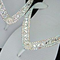 Swarovski Crystal Bridal Havaianas & Cariris Beach Wedding Flip Flops White Shoe Photo