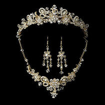 Swarovski Crystal Bridal Necklace Earring & Tiara Set Photo
