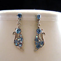 Swarovski Crystal Cat  Earrings  E1165a Photo
