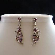 Swarovski Crystal Cat  Earrings  E1165b Photo