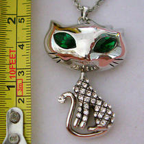Swarovski Crystal Cat Necklace Photo