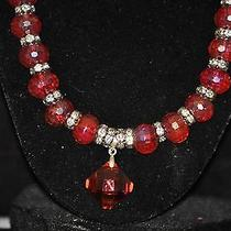 Swarovski Crystal Earings W Glass Bead Matching Necklace New Beautiful Photo