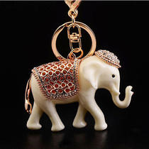 Swarovski Crystal Fashion 3d Resin Elephant Charm Car Purse Key Chain Key Ring Photo