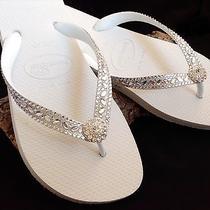 Swarovski Crystal Flip Flops Bridal Havaianas Cariris Beach Wedding White Shoes Photo