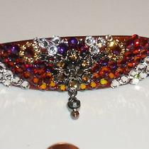 Swarovski Crystal & Floral Jewelry Barrette Changing Colors Handmade & Fabulous Photo