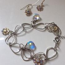 Swarovski Crystal Flower Earrings and Bracelet Set New Hand Made Us Photo