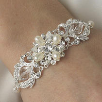 Swarovski Crystal & Freshwater Pearl Bridal or Wedding Bracelet Photo