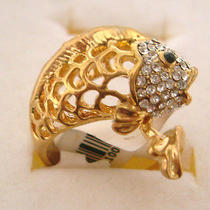Swarovski Crystal Golden Fish Ring A Photo