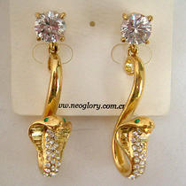 Swarovski Crystal Golden Snake Earring  Photo