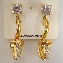 Swarovski Crystal Golden Snake Earring  Photo