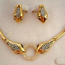 Swarovski Crystal Golden Snake Necklace Set A Photo
