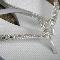 Swarovski Crystal Havaianas Slim Blushing Bride Rocks Wedding Flip Flops Shoes Photo