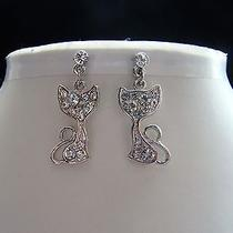 Swarovski Crystal Kitty  Earrings  E1164 Photo