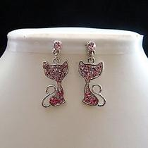 Swarovski Crystal Kitty  Earrings  E1164a Photo