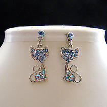 Swarovski Crystal Kitty  Earrings  E1164c Photo