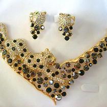 Swarovski Crystal Leopard Necklace Set A Photo
