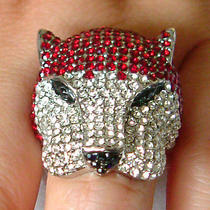 Swarovski Crystal Leopard Ring Sz7  Photo