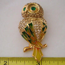 Swarovski Crystal  Owl Brooch Photo