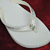 Swarovski Crystal Pearl Beach Wedding Flip Flop Havaianas or Cariris Bridal Shoe Photo