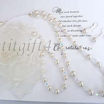 Swarovski Crystal Pearl Bridal Necklace 3 Pieces Set Photo