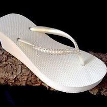 Swarovski Crystal Pearl Flip Flop Bridal Wedding White Havaianas High Wedge Shoe Photo