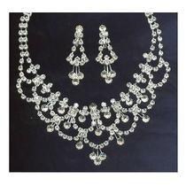 Swarovski Crystal Rhinestone Wedding Necklace Push Backs Post Earrings Photo