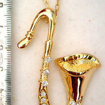 Swarovski Crystal Saxophone Necklace Photo
