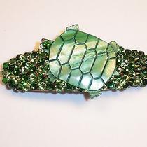 Swarovski Crystal & Shell Turtle Green Barrette Handmade & Fun Photo