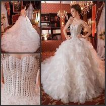 Swarovski Crystals 2014 Wedding Gowns Pearls Rhinestone Wedding Dress Mermaid   Photo