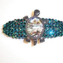 Swarovski Crystals & Abalone Shell Turtle Barrette Capri Blue Handmade & Fun Photo